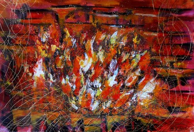 Natalya-zhdanova-colorful-abstract-red-painting-fireplace-acrylic-on-paper-wall-art