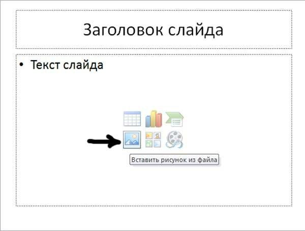 Вставка рисунка в слайд - 1