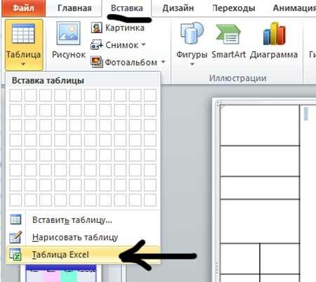 Вставка таблицы excel в презентацию
