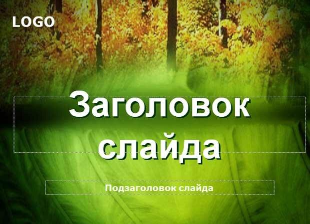 Шаблон презентации В зеленой роще