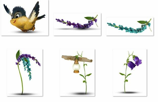 Птичка и цветки