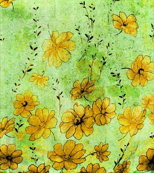 Желтые цветы на полотне