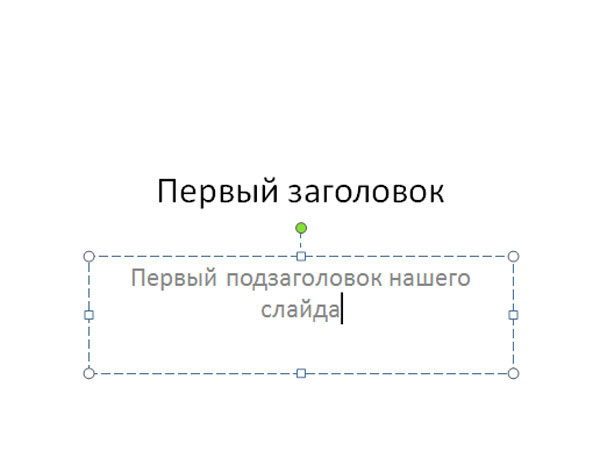 Редактирование текста в слайде