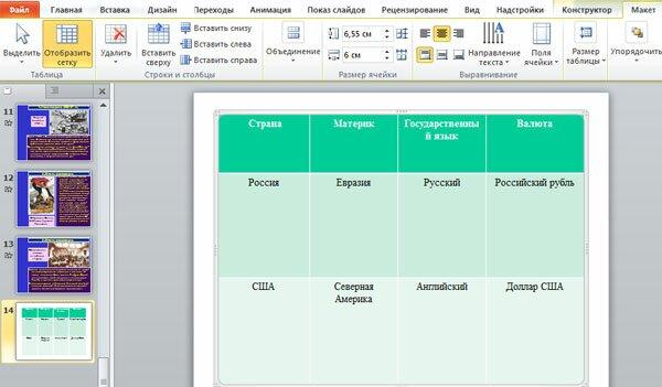 Раздел макет таблицы