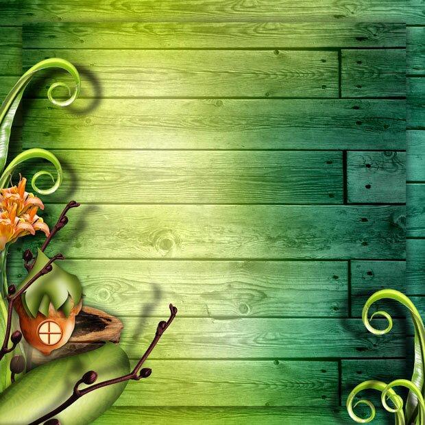 Деревянная стена и сказочный домик