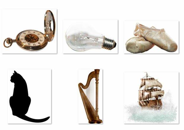Корабль, старые часы, лампа