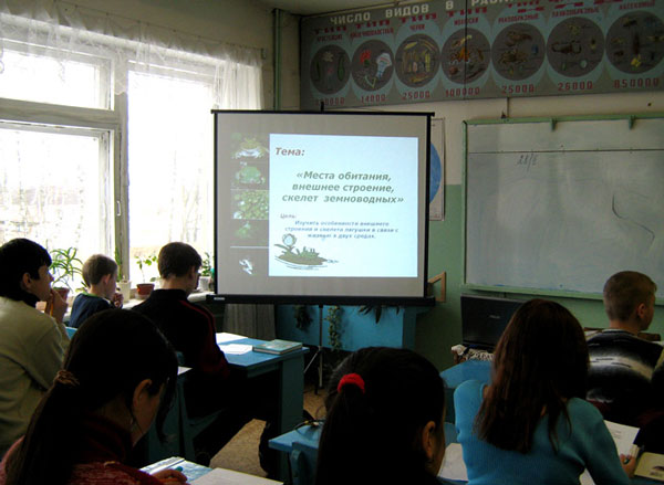 Использование проектора на уроке биологии
