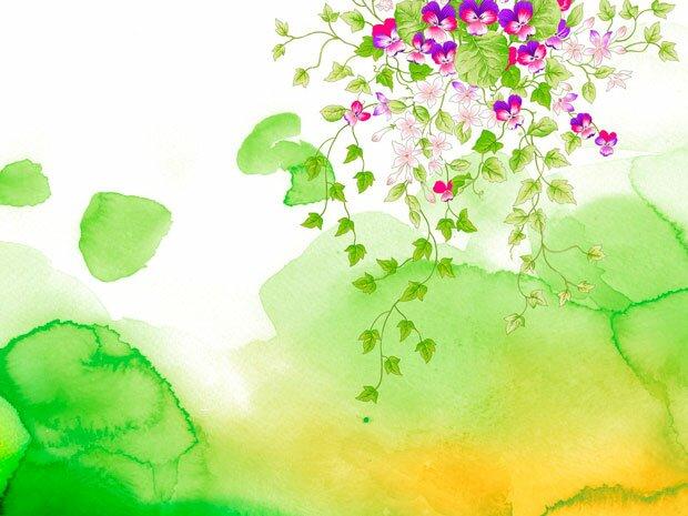 Фоны для презентаций - цветы в японском стиле 4
