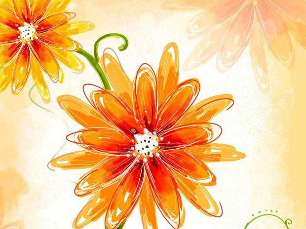 Фоны для презентаций - цветы в японском стиле 7