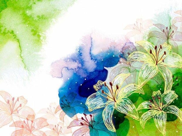 Фоны для презентаций - цветы в японском стиле 10