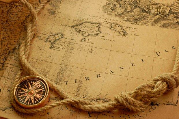 Фоны для презентаций - компас и карты 1