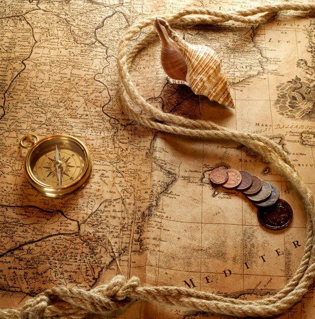 Фоны для презентаций - компас и карты 2