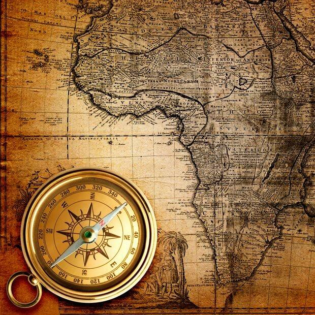 Фоны для презентаций - компас и карты 3